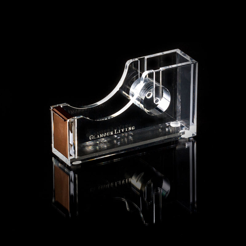 Acrylic And Gold Metal Tape Dispenser With Glamourliving Logo