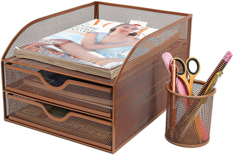 Osco 3 Tier Wiremesh Makeup Storage Rose gold