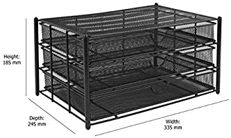 Osco A4 3 Drawer Wiremesh Storage Black