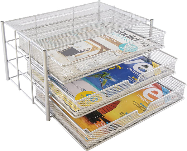 Osco Storage Drawers 3 Tier Silver Wiremesh A4