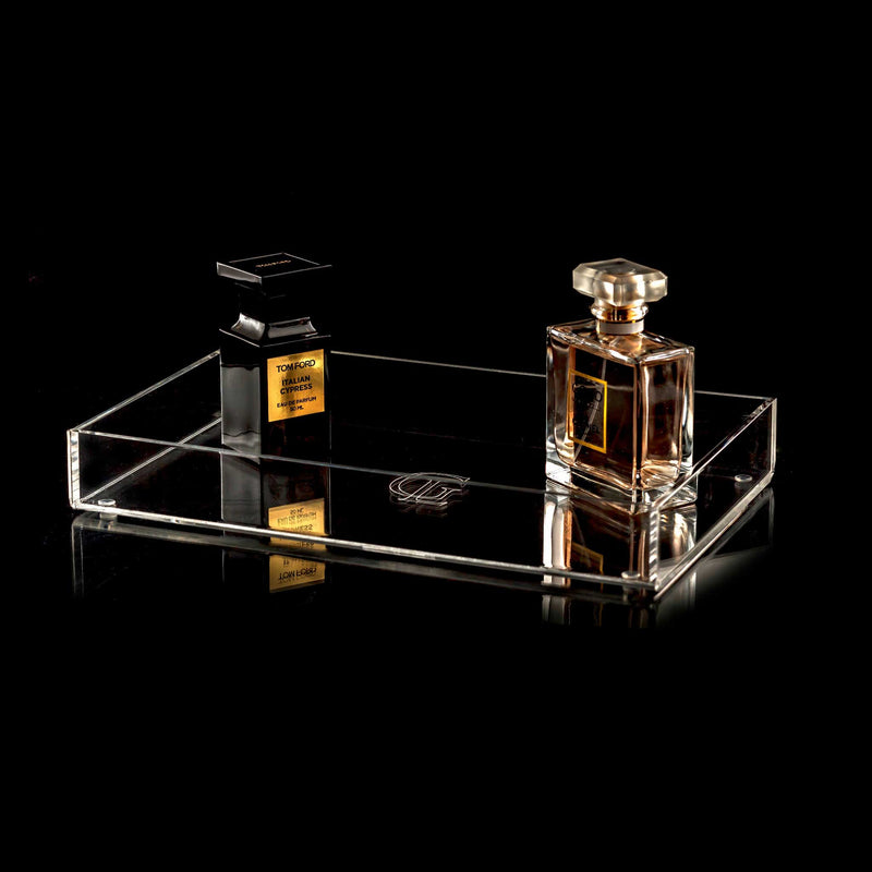Acrylic Perfume Tray With Chanel Perfume and Tom Ford Aftershave