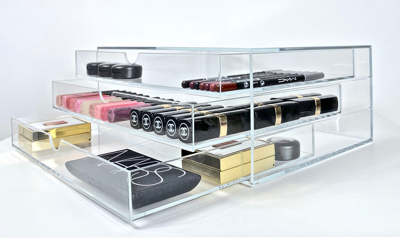 Side View of Osco Makeup Storage With Mac Lipglosses, Chanel Lipsticks and Nars Blusher