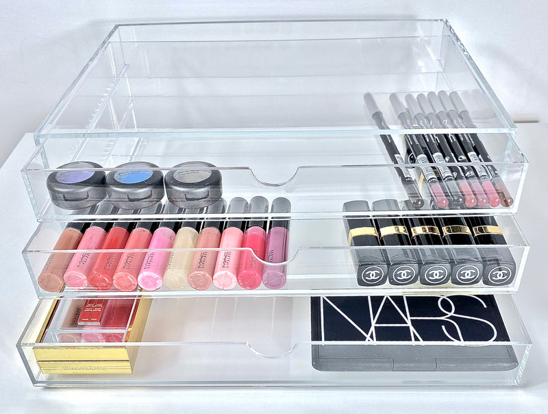 Front View of Osco 3 Drawer Large Makeup Storage With Mac Eyeshadows, Chanel Lipsticks and Nars Blusher