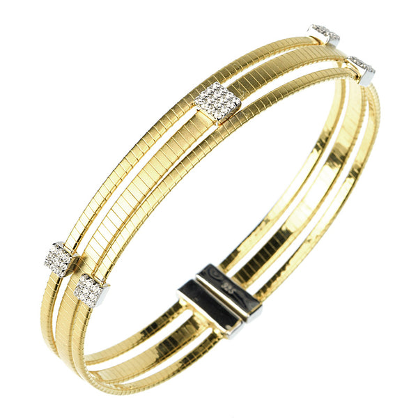 14kt gold plated bangle in a satin finish
