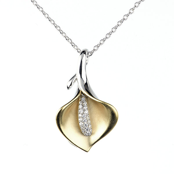 14kt Gold plated Calla Lily necklace