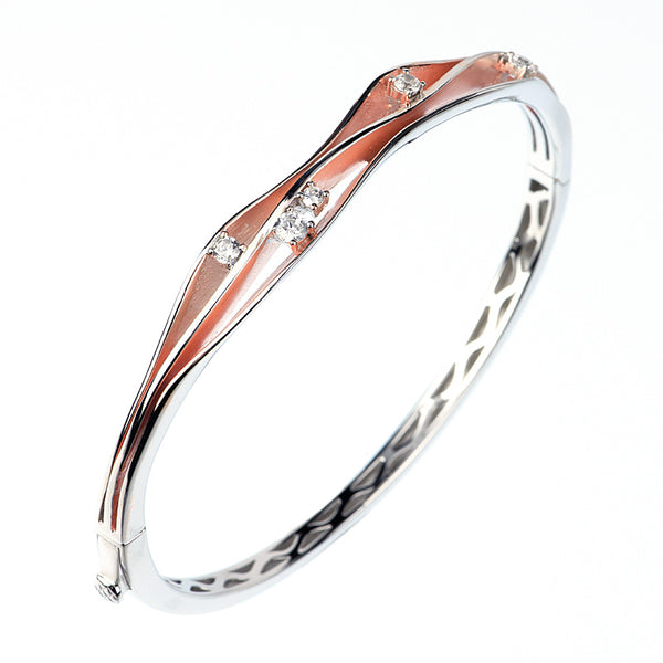 White/rose 14kt gold plated fashion bangle