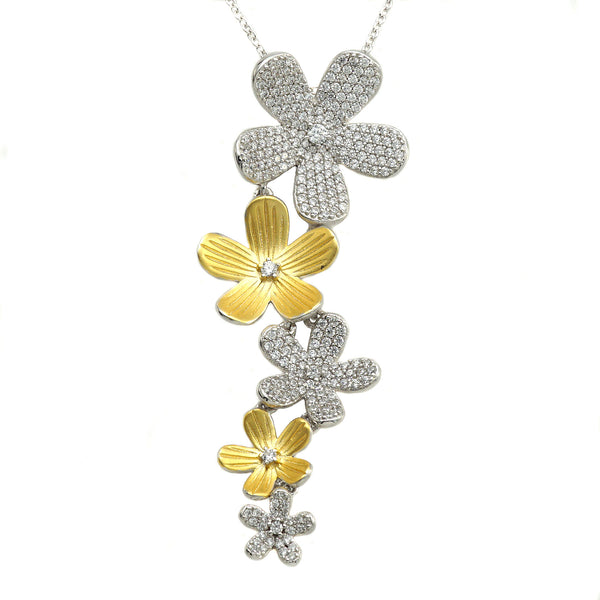 A two-tone flower motif 14kt gold plated fashion necklace.
