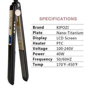 Professional Titanium Flat Iron Hair Straightener and Curler by Kipozi