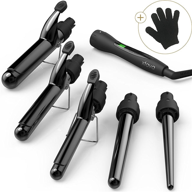 Xtava 5 in 1 Professional Curling Wand and Curling Iron Set - 0.3 to 1.25 Inch