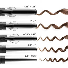 Load image into Gallery viewer, Xtava 5 in 1 Professional Curling Wand and Curling Iron Set - 0.3 to 1.25 Inch