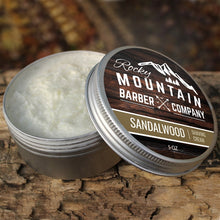 Load image into Gallery viewer, Sandalwood Scented Luxury Shaving Cream by Rocky Mountain Barber Company - 5 oz.