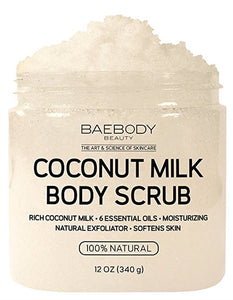 Baebody Coconut Milk and Dead Sea Salt Body Scrub - 12 oz.