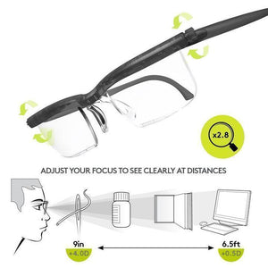 (Free Shipping)Focus Adjustable Eyeglasses -3 to +6 Diopters Myopia Glasses Reading Glasses