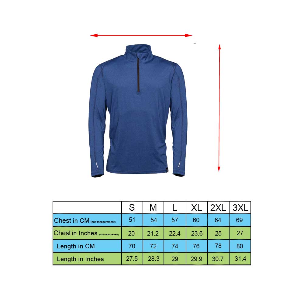 Grand Slam Pullover Size Chart