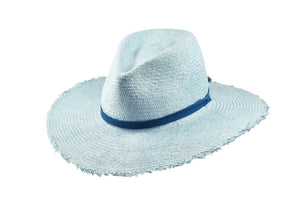 Light Blue Wide Brim Straw Hat