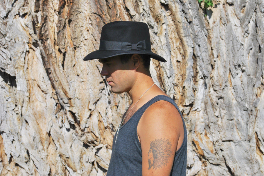 The Ellis - Men's Black Fedora-Hats-TrueWestHats