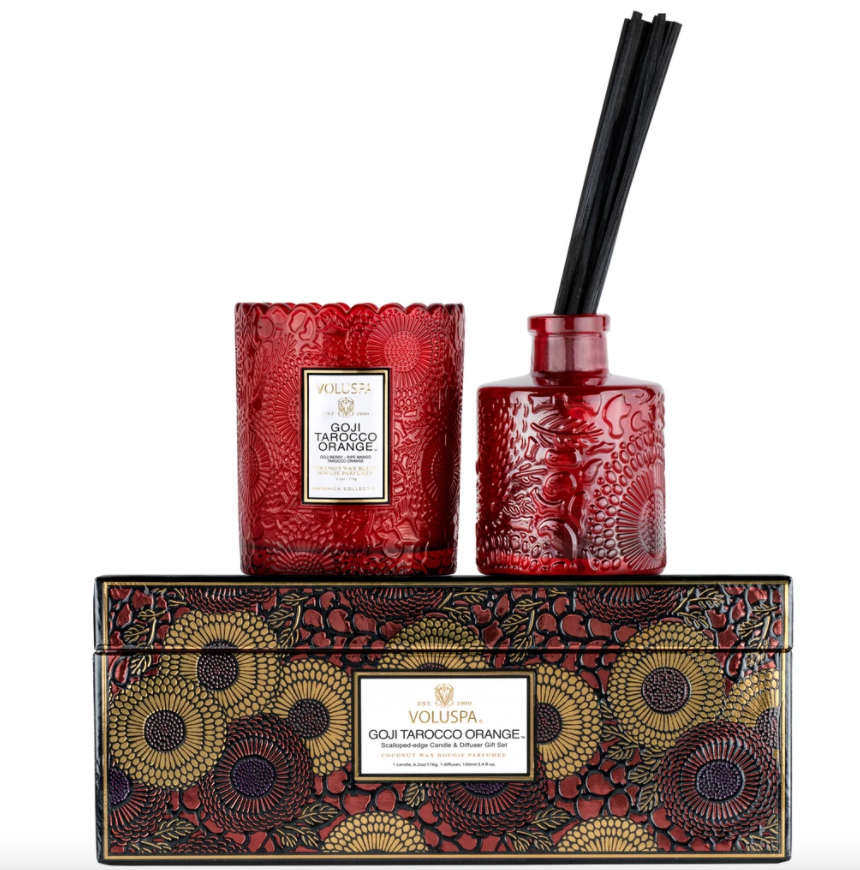 VOLUSPA GOJI TAROCCO ORANGE CANDLE & DIFFUSER GIFT SET