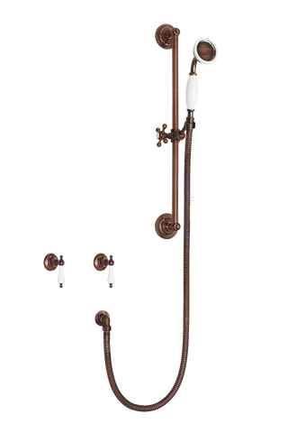 Antique Shower System - Porcelain Levers