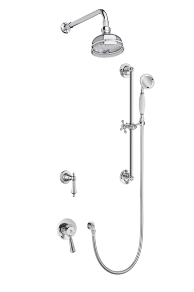 Traditional Concealed Shower System Arm Rose Diverter & Flexible Kit - Porcelain Levers