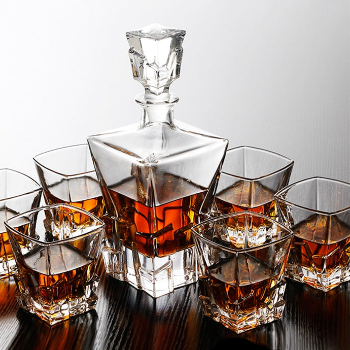Crystal Whisky Glass Decanter (800ml) With Glass Whiskey Cups (6pcs)