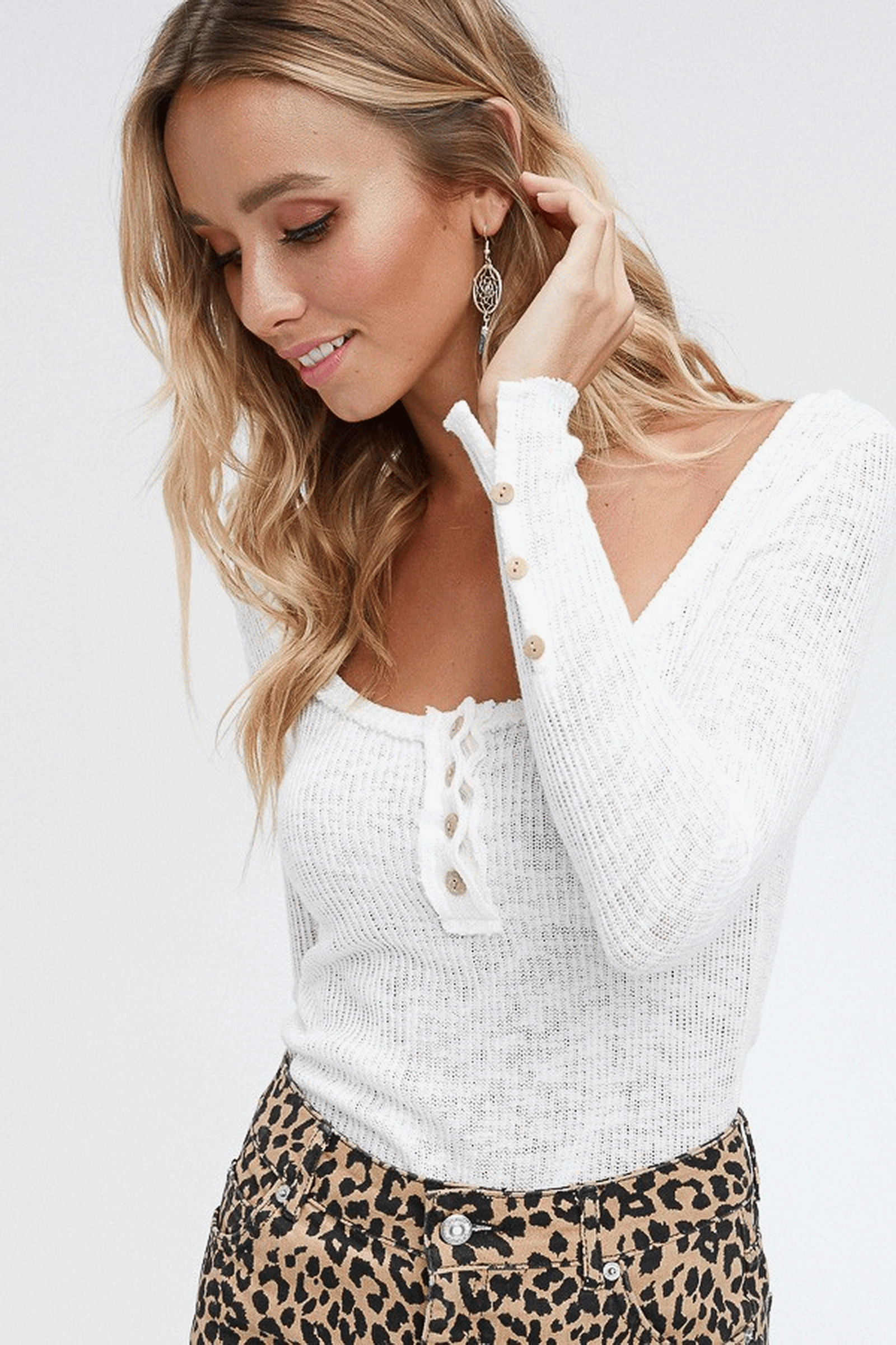 Millennial Grace - Ivory Knit Top