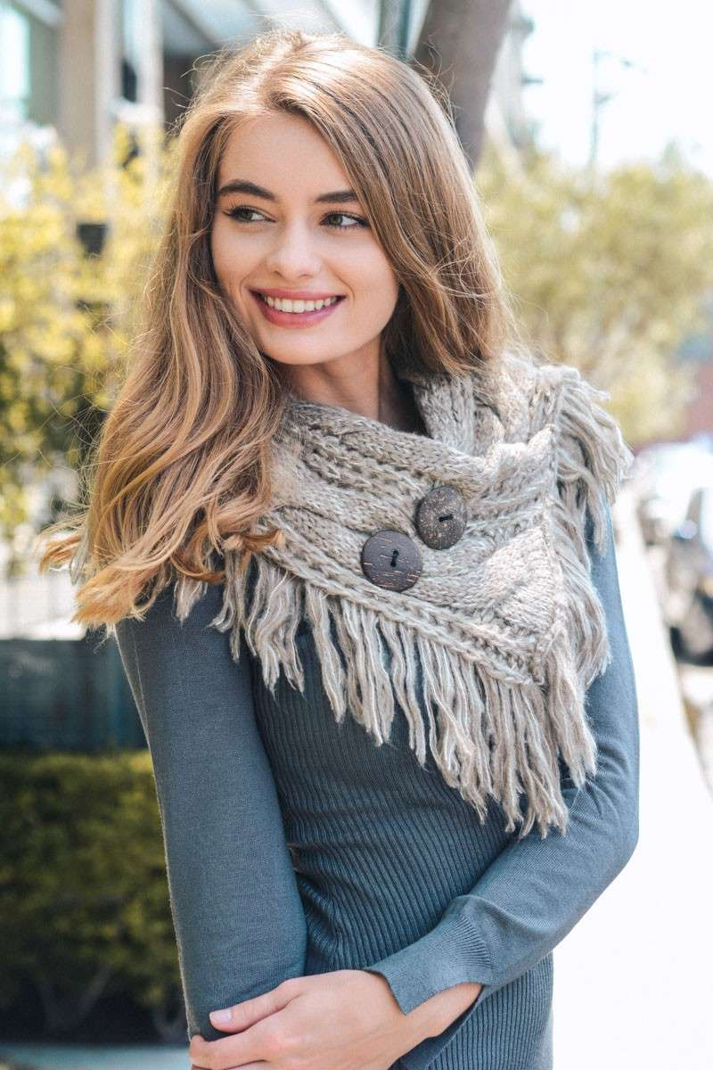 Cozy Over You - Fringe Shoulder Wrap in Mocha