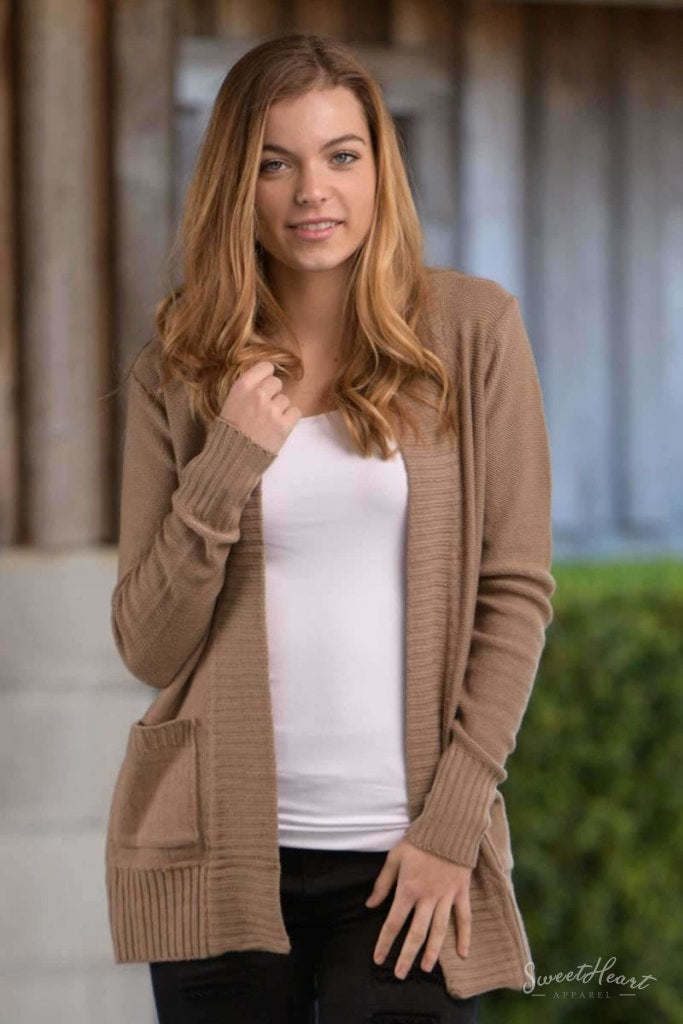 All Eyes On You - Khaki Knit Cardigan Sweater
