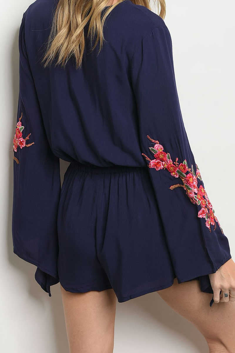 Almost To Heaven- Embroidered Romper Navy