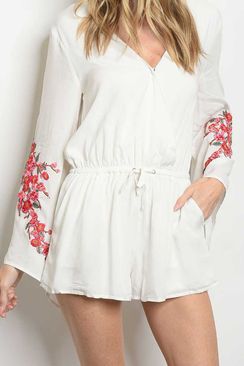 Almost To Heaven- Embroidered Romper White