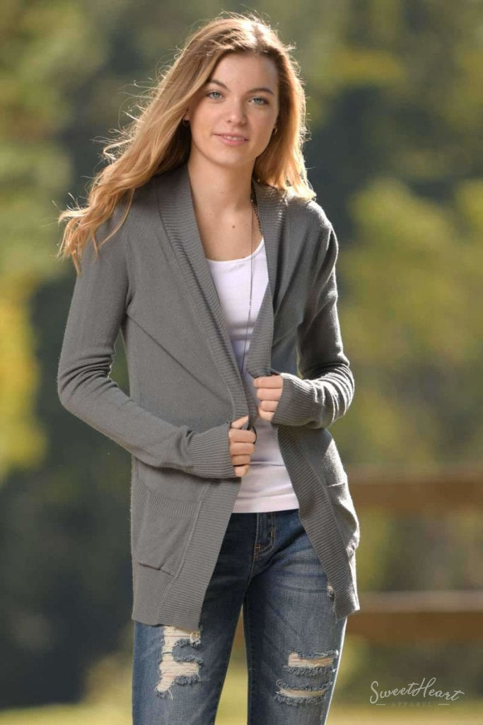 Changing Seasons Cardigan Sweater - Charcoal
