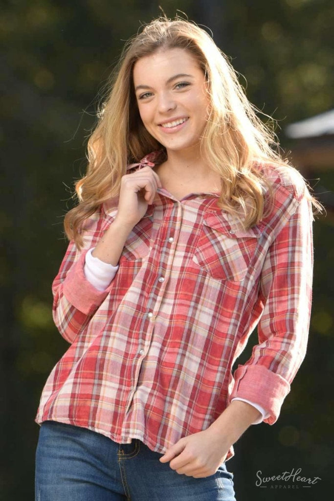 Clothes To Your Heart - Flannel Shirt Red