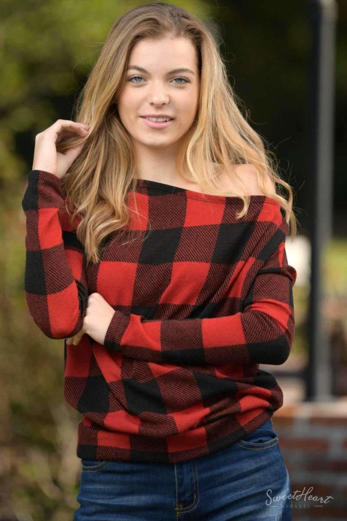 Comfort To Touch Plaid Sweater - Red Sweaters