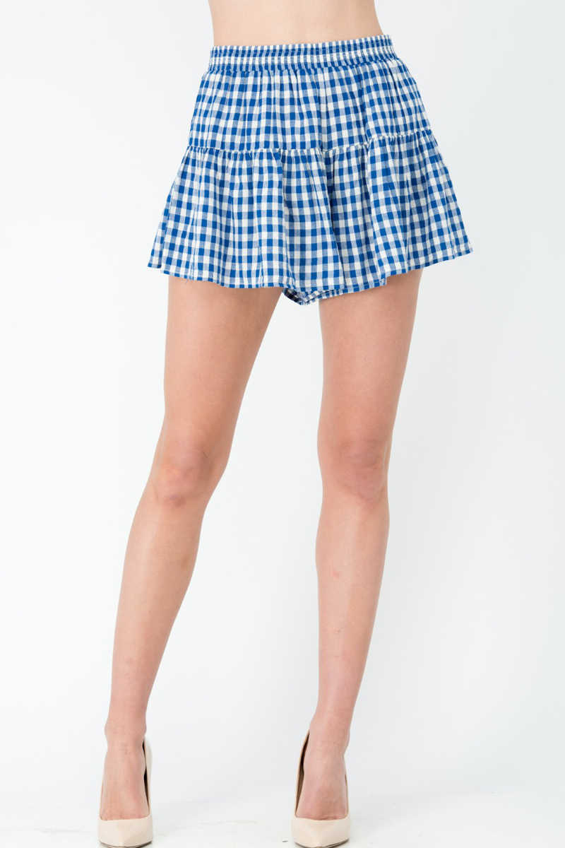 Country Confident - Gingham Skort Navy