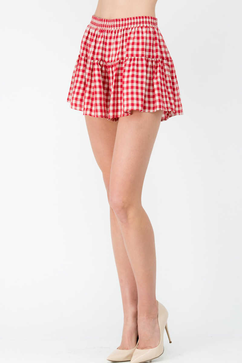 Country Confident - Gingham Skort Red