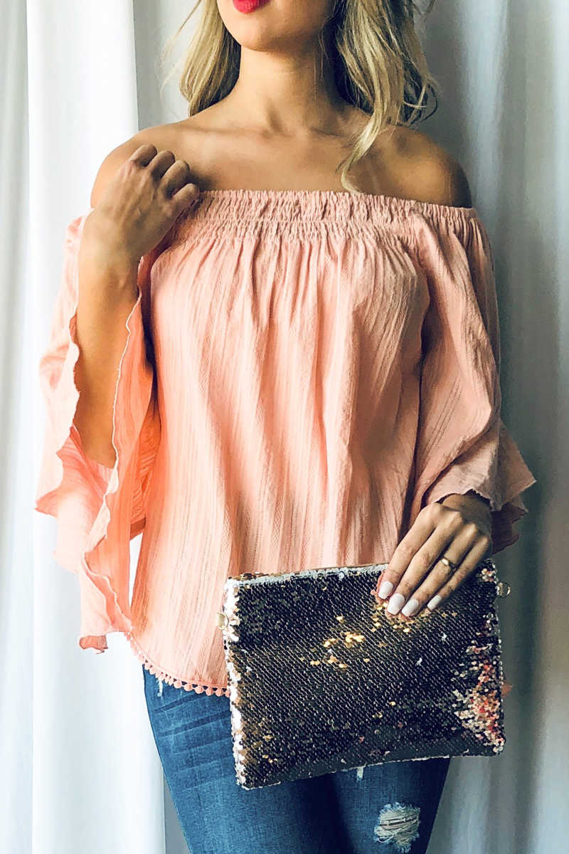Country Sunshine Off Shoulder Top - Peach