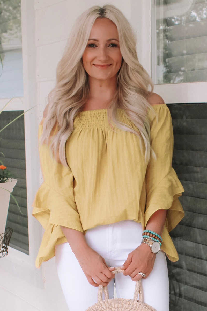 Country Sunshine Off Shoulder Top - Yellow