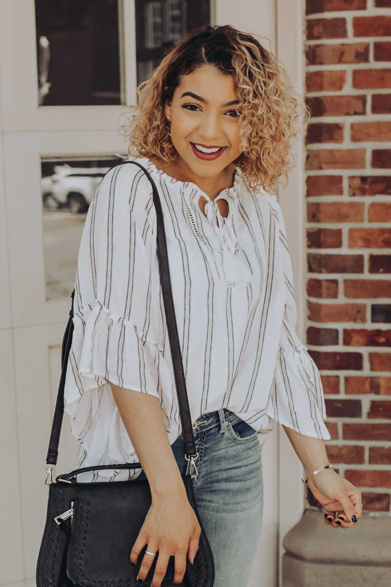 Cross Continent Chic - Stripe Ruffle Sleeve Top