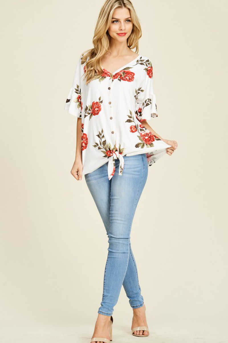 Easy Attitude - Floral Top Ivory