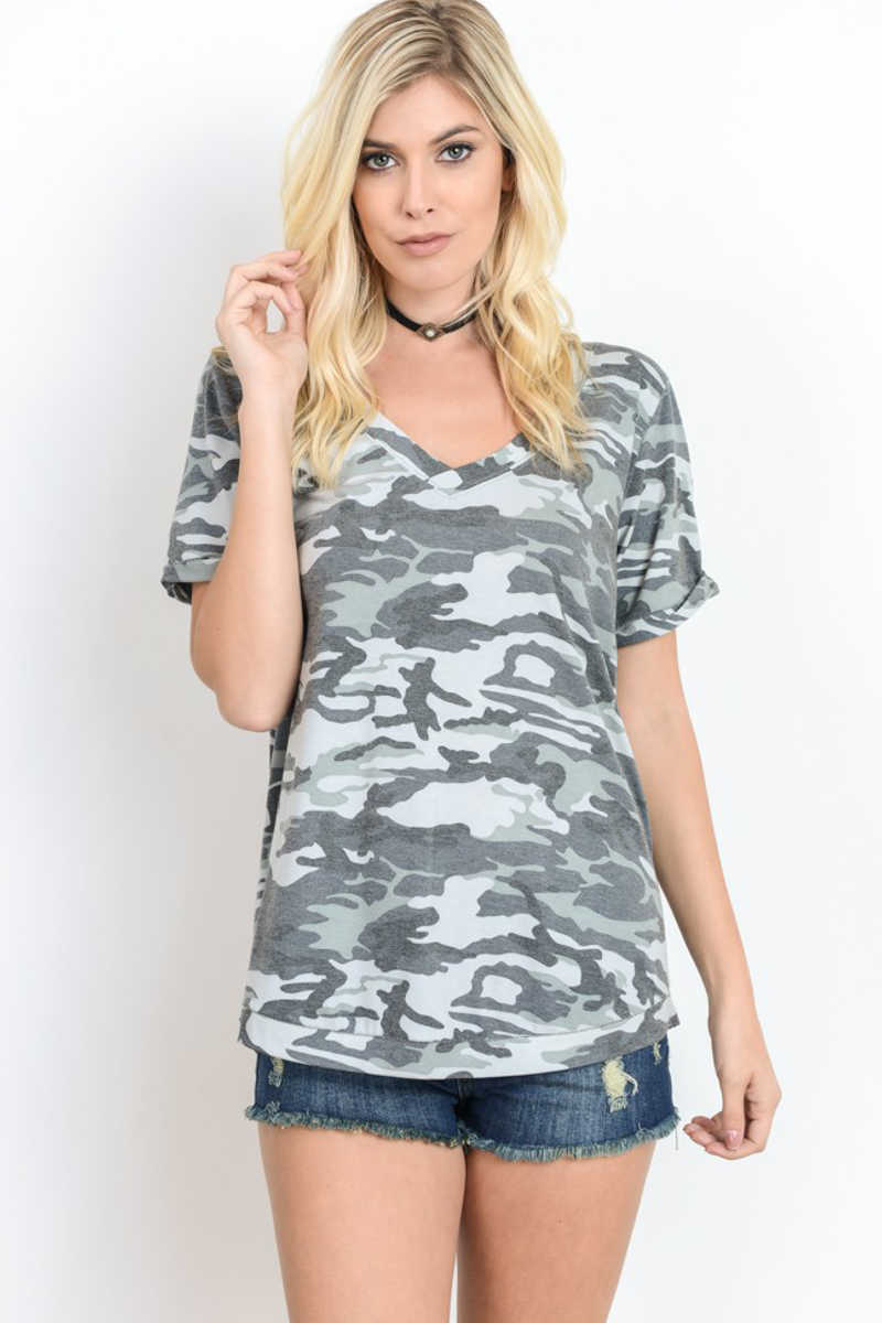 Fearlessly Free - Camo Vneck Shirt