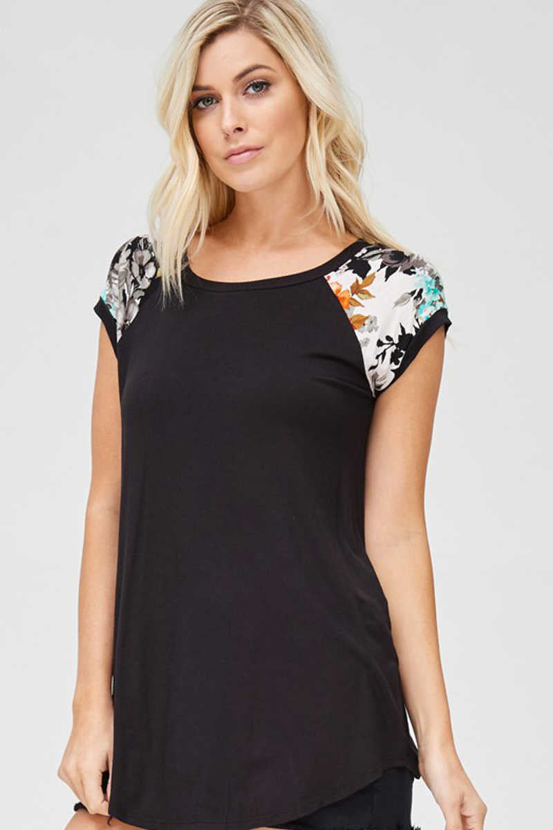 Flower Crushes - Contrast Top in Black