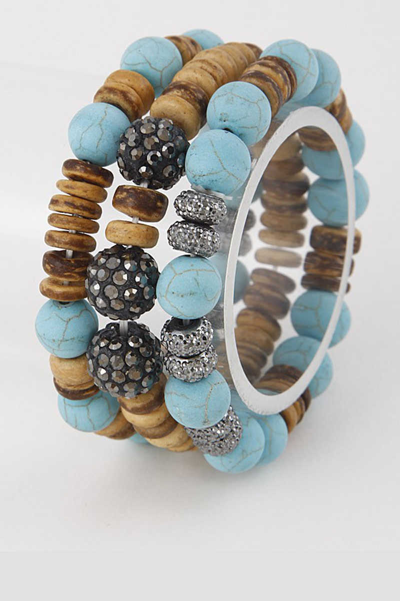 Forever and Always - Triple Beaded Bracelet Set in Turquoise