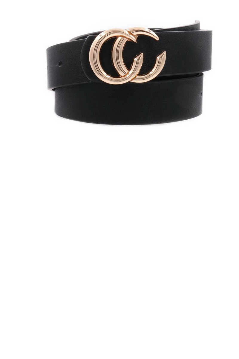Get Your Chic On - Black Belt Gold Buckle