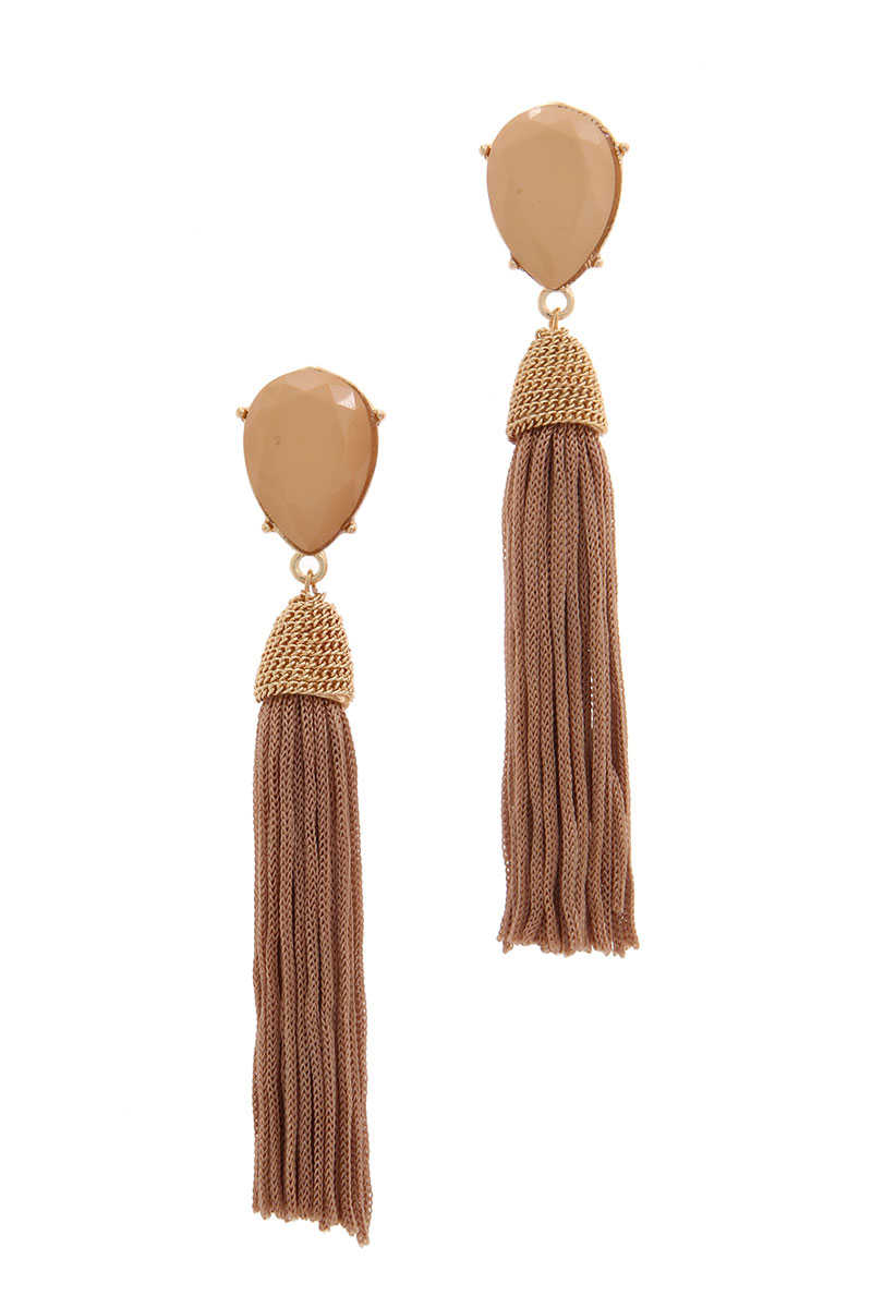 Going My Way - Tassel Drop Earrings Taupe