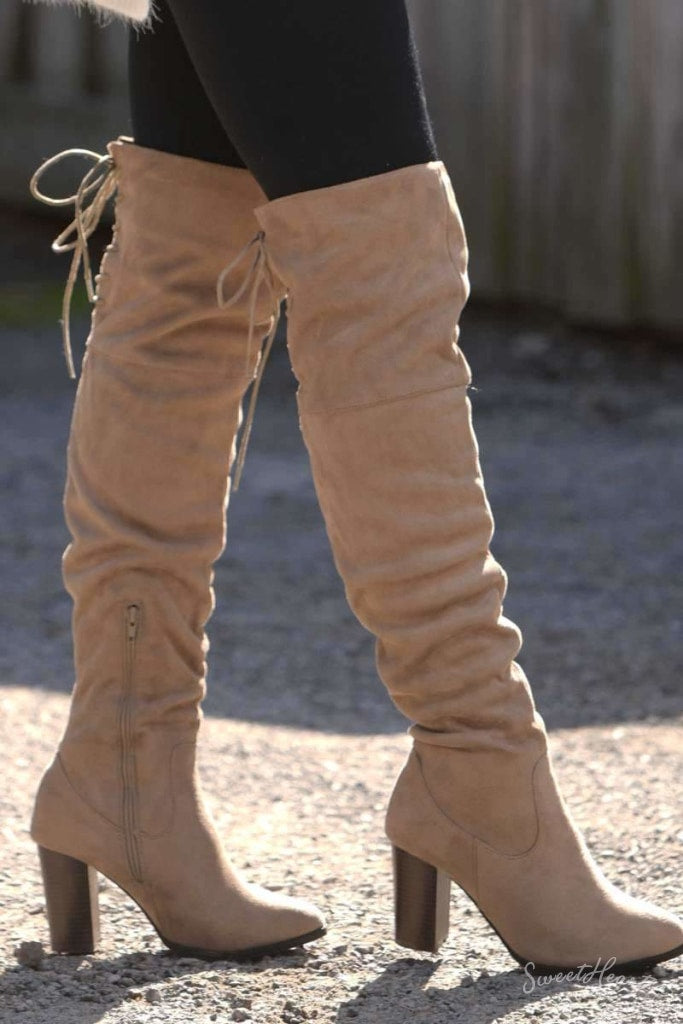 Gorgeous To Boot - Taupe Over The Knee Boots