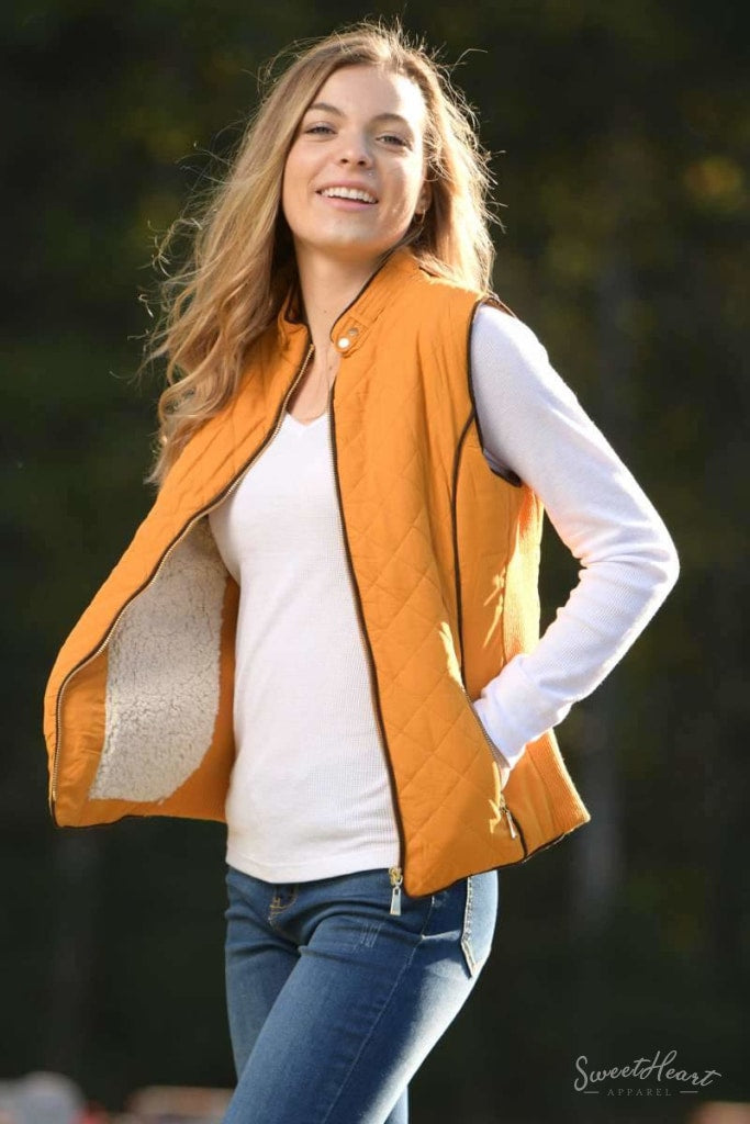 Hold Me Tight - Quilted Vest In Dark Mustard Outerwear