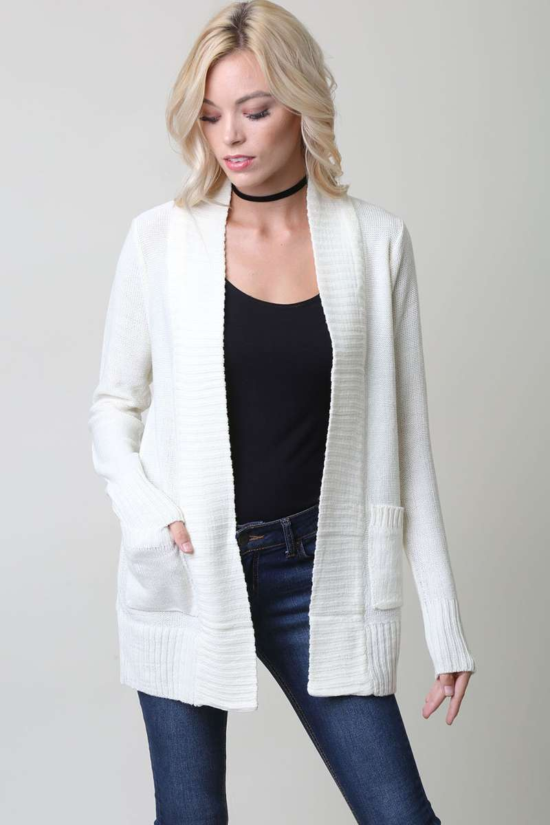 All Eyes On You - Ivory Knit Cardigan Sweater