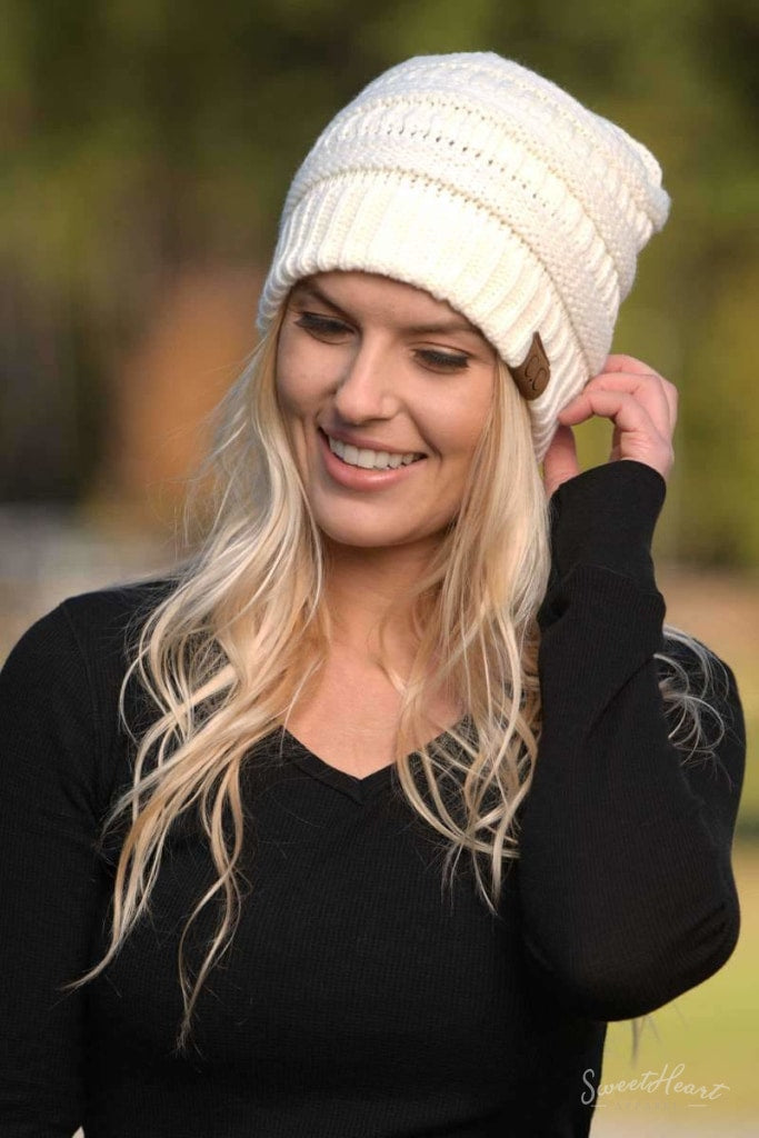 Knit Me With Your Best Shot - Solid Beanies One Size / Ivory