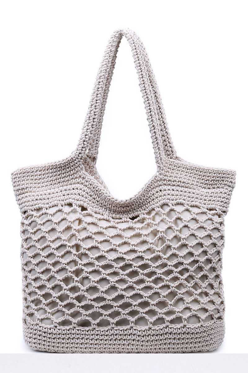 Lazy Afternoons - Woven Tote Bag in Ivory