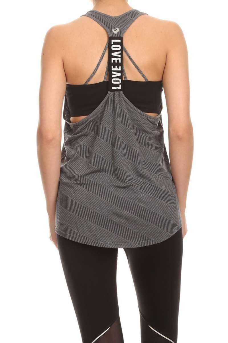 Let's Get Physical - Gray Love Racerback Tank Top