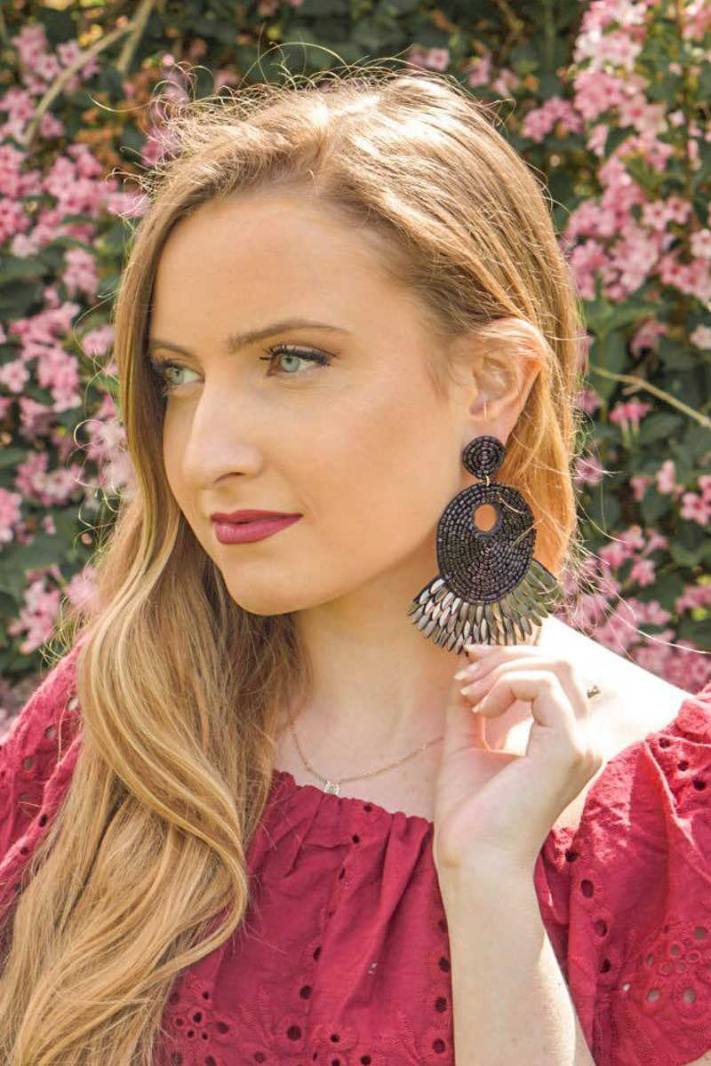 Natural Authority - Double Circle Beaded Drop Earrings Black